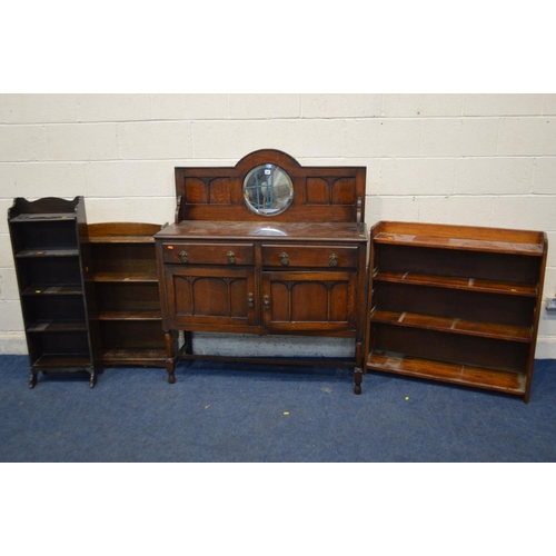 1291 - AN EARLY TO MID 20TH CENTURY OAK MIRRORBACK SIDEBOARD, with two drawers, width 117cm x depth 41cm x ...