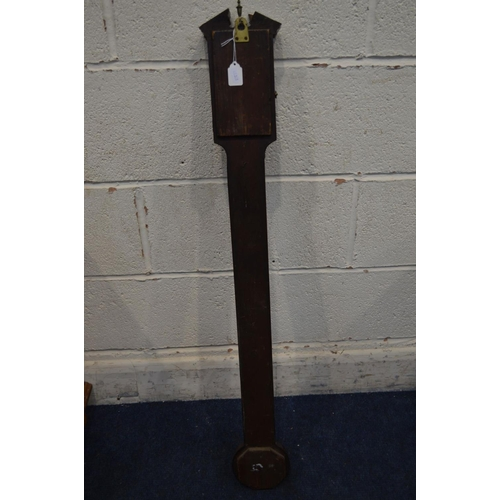 1295 - P GALLY AND CO, LONDON, a 19th century mahogany and strung cistern stick barometer, brass finial, th...