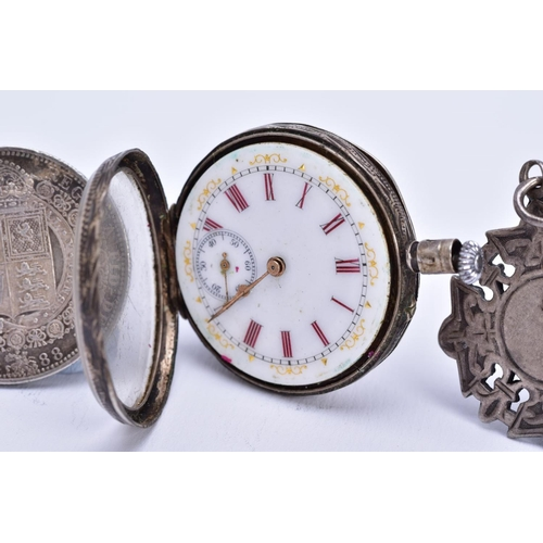 13 - A POCKET WATCH, FOB AND COIN, the silver pocket watch, white dial, red enamel roman numerals, second...