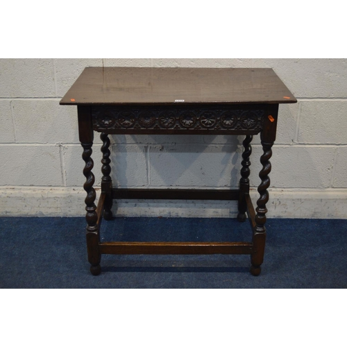 1318 - AN OAK SIDE TABLE, of the 18th century style, incorporating timber possibly of the same period, the ...