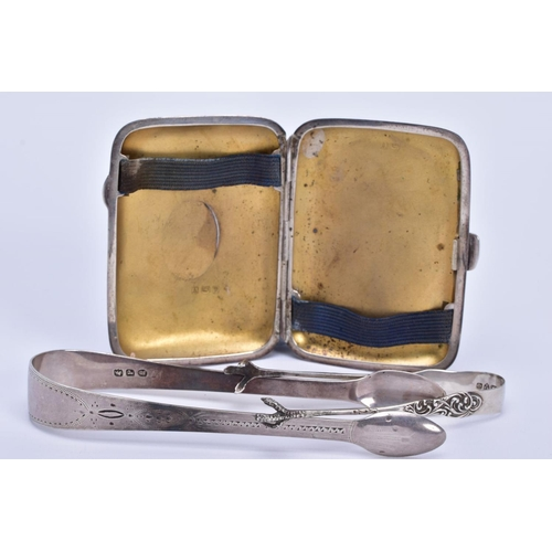 15 - A SILVER CIGARETTE CASE AND TWO SUGAR TONGS, the silver case with engraved floral detailing to the f...