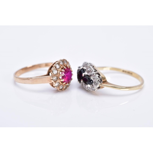 17 - TWO GEM SET RINGS, the first a 9ct gold sapphire and diamond oval cluster, set with a circular cut s...