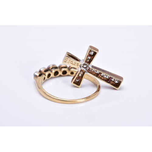 18 - A DIAMOND RING AND CROSS PENDANT, the yellow metal ring set with five graduated old cut diamonds, ea...