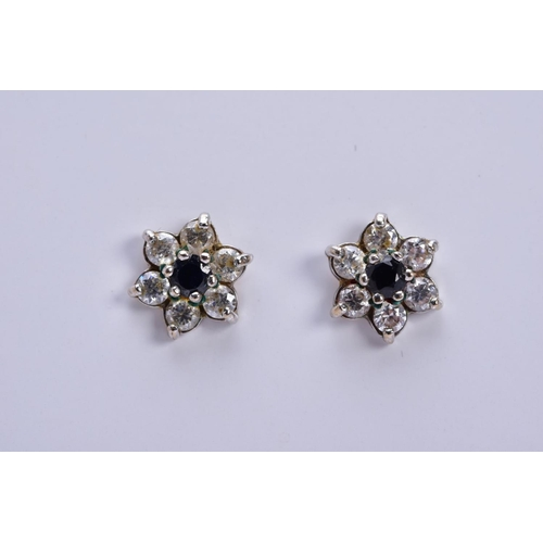 22 - THREE PAIRS OF GEM SET EARRINGS, to include a pair of sapphire and diamond cluster earrings, hallmar...