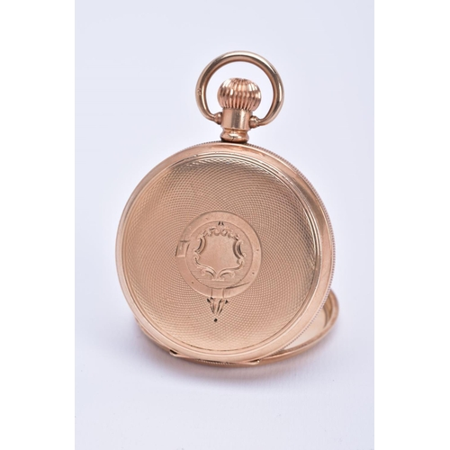 26 - A FULL HUNTER WALTHAM POCKET WATCH, white dial, roman numerals, gold hands, dial signed 'Waltham' se...