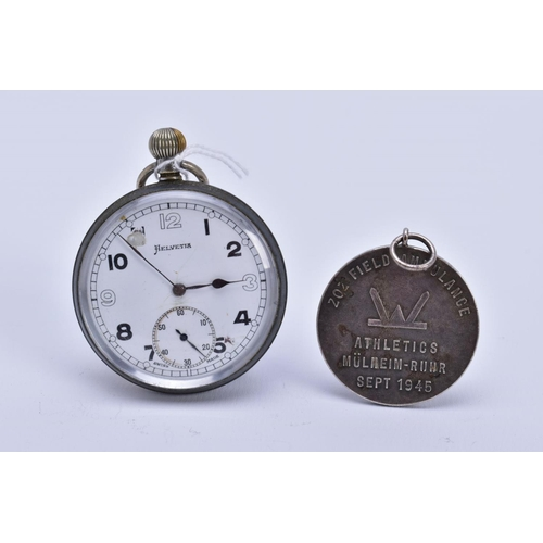 30 - A MILITARY POCKET WATCH AND MEDAL, the pocket watch with white dial, Arabic numerals, seconds subsid...