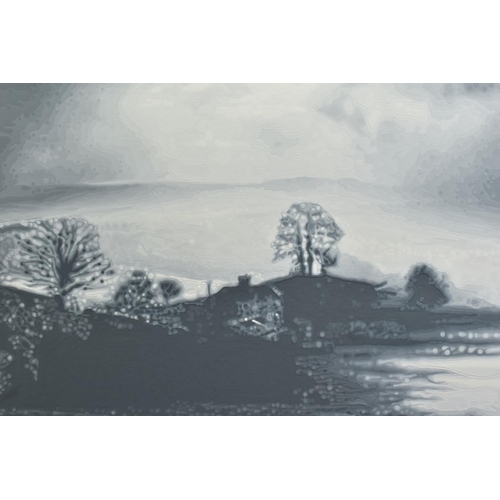 316 - GAIL TROTH (BRITISH CONTEMPORARY) 'HOMECOMING', an atmospheric study of a monochrome landscape, sign...
