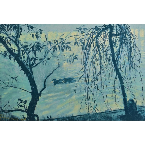 319 - ROLF HARRIS (AUSTRALIAN 1930) 'MIST ON THE THAMES', a limited edition print on canvas of trees and d...