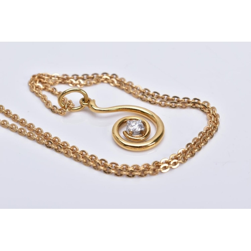 33 - A 18CT GOLD DIAMOND SINGLE STONE SWIRL PENDANT, together with a 18ct gold trace link chain measuring...