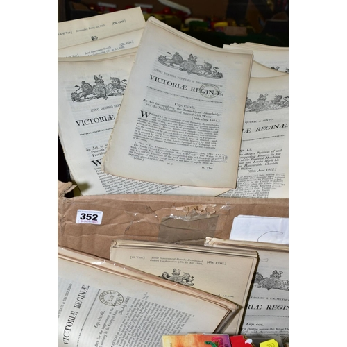 352 - LOCAL ACTS OF PARLIAMENT one box containing approximately three hundred disbound chapters dating for...