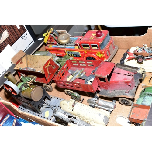 355 - A QUANTITY OF ASSORTED PLAY WORN DIECAST VEHICLES AND OTHER TOYS, to include Dinky Toys Mercedes Ben...
