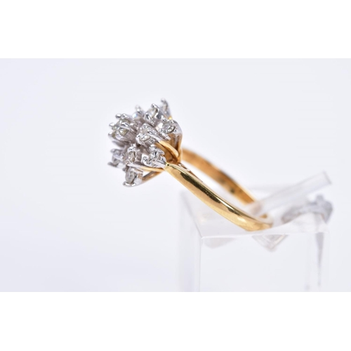 36 - A LATE 20TH CENTURY DIAMOND CLUSTER RING, estimated modern round brilliant and eight cut diamond wei...
