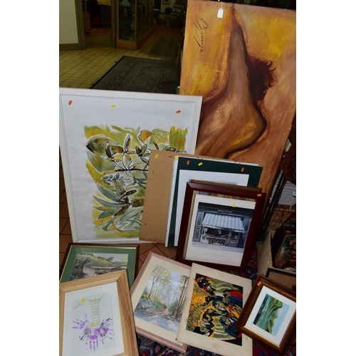 375 - PAINTINGS AND PRINTS, to include a Peter Spowage nude figural study signed bottom left, oil on canva...