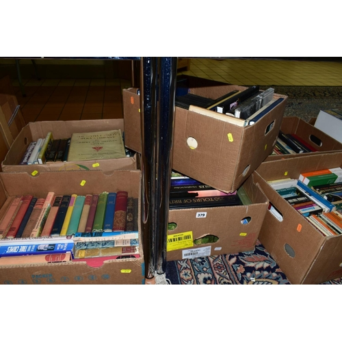 379 - SIX BOXES OF BOOKS, miscellaneous subjects, including British Isles, garden interest, 'The D'Oyly Ca...