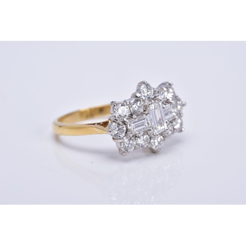 38 - A MODERN 18CT GOLD LARGE DIAMOND CLUSTER RING, comprised three rap cut diamonds, measuring approxima...