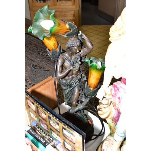 382 - A BOX AND LOOSE SUNDRY ITEMS, to include a Deco style table lamp (sd), a chalk figurine, height 67cm...