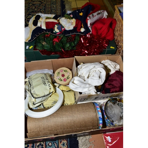 383 - FIVE BOXES OF HABERDASHERY INTEREST, CRAFTING INTEREST AND CHRISTMAS DECORATIONS, including differen...