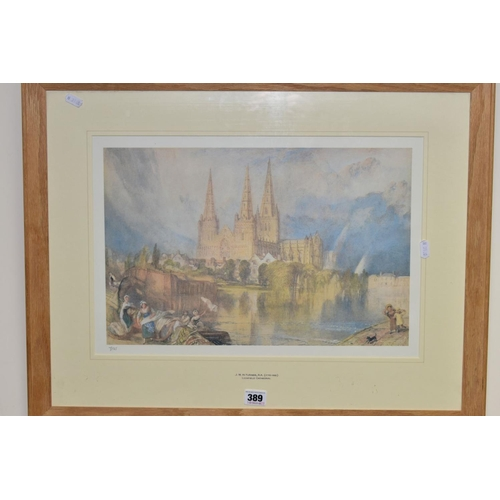 389 - J.M.W.TURNER (1775-1851) 'LICHFIELD CATHEDRAL', a limited edition print 7/25 produced to raise funds...