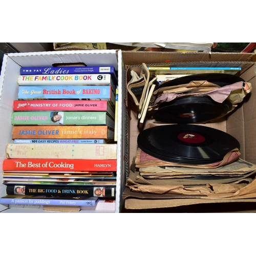 395 - THREE BOXES OF BOOKS, RECORDS AND COMICS, to include 'Shoot' comics 1969/70, other football books, c...