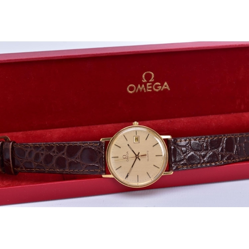43 - A GENTS 9CT GOLD OMEGA 1430 WRISTWATCH, gold dial with date window at 3 o'clock position, baton hour...