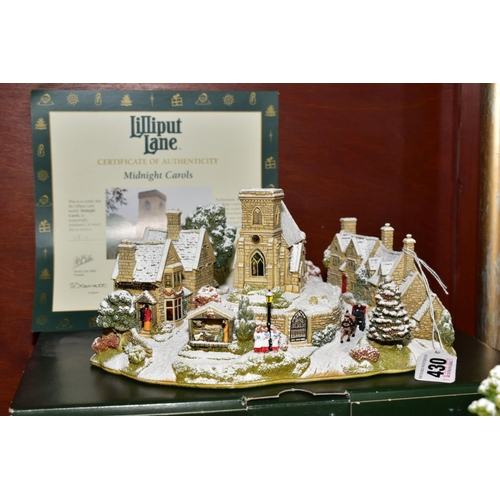 430 - FIVE BOXED LILLIPUT LANE SCULPTURES, comprising limited edition 'Midnight Carols' No 2543 with certi...