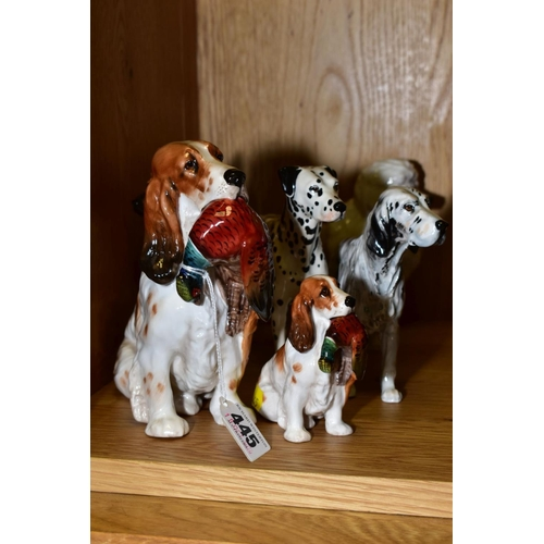 445 - SIX ROYAL DOULTON DOGS 'Cocker Spaniel with Pheasant' HN1001, height 16.5cm, 'Cocker Spaniel with Ph...