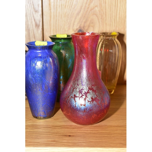 448 - FOUR ROYAL BRIERLEY GLASS VASES, comprising three from Studio range, a red iridescent vase, height 1...