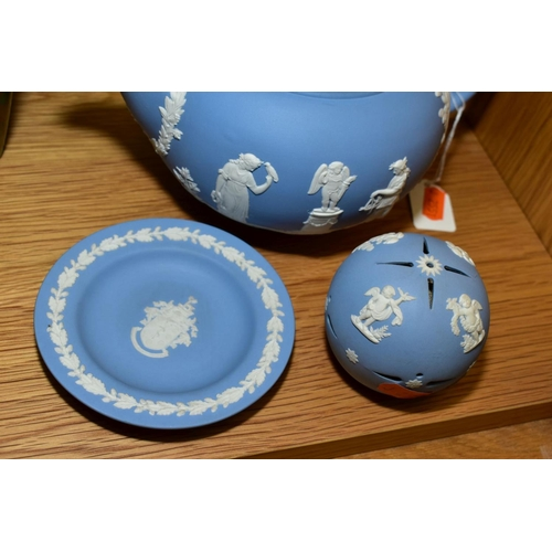 450 - WEDGWOOD PALE BLUE JASPERWARES, comprising a teapot, a vase with frog insert, height 17cm, a pomande...