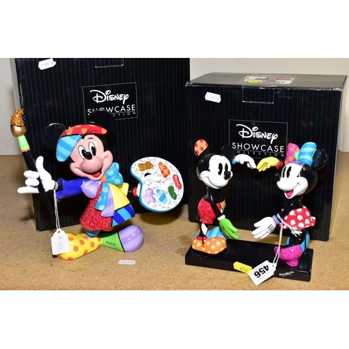 456 - TWO BOXED BRITTO DISNEY SNOWCASE FIGURES, 'Mickey and Minnie' Ref 4055228 and 'Artist Mickey' Ref 40...