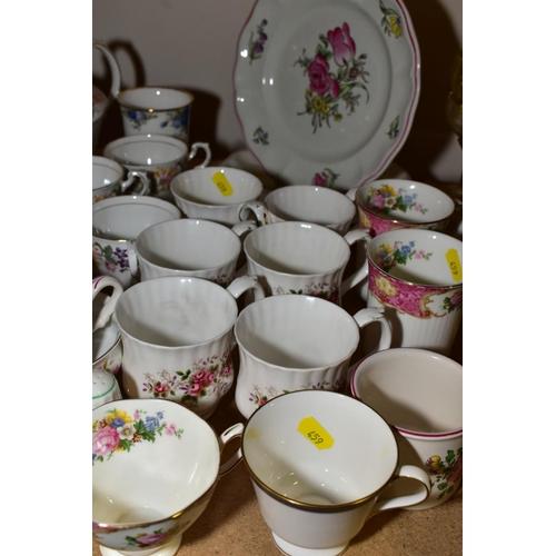 459 - ASSORTED CHINA TEA WARES, including six Royal Albert Lavender Rose mugs, Paragon china Country Lane ...