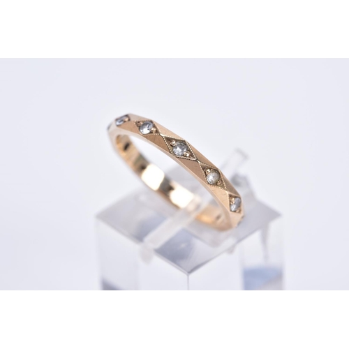 46 - TWO JEWELLERY ITEMS, to include a synthetic spinel full eternity ring, ring size O, stamped 9ct, a d...