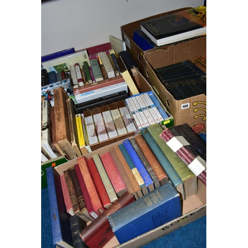468 - FIVE BOXES OF PAPERBACK AND HARDBACK BOOKS, including The Waverley novels, a collection of James Her...