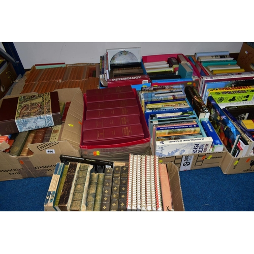 480 - NINE SMALL BOXES OF BOOKS, including hardback and paperbacks, Collins waterways guides etc, psycholo...