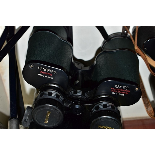 483 - TEN GOLF CLUBS AND TWO CASED PAIRS OF BINOCULARS, comprising Carl Zeiss 8x30B and Panorama Executive...