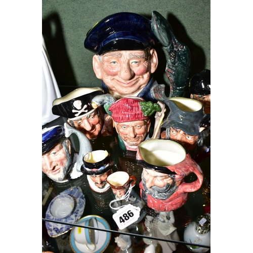 486 - NINE ROYAL DOULTON CHARACTER JUGS, comprising Old Charley D6144, Beefeater D6251, Captain Ahab D6506...