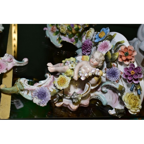 497 - A PAIR OF LATE 19TH CENTURY PLAUE PORCELAIN FIGURAL CANDELABRA, florally encrusted decoration, print...