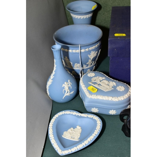 507 - FIVE PIECES OF WEDGWOOD PALE BLUE JASPERWARE, including a heart shaped trinket dish and cover, a hea...