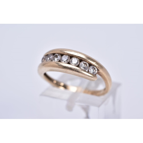 51 - A MODERN DIAMOND HALF ETERNITY RING, cross over design, estimated modern round brilliant cut weight ...