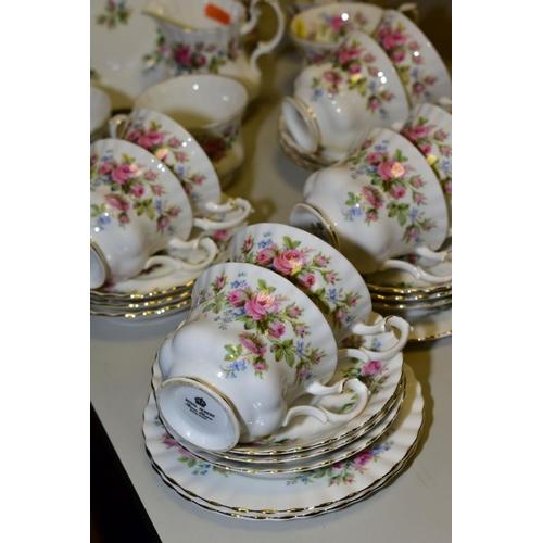 510 - ROYAL ALBERT 'MOSS ROSE' TEA WARES, comprising eleven cups, twelve saucers, four side plates, sandwi...