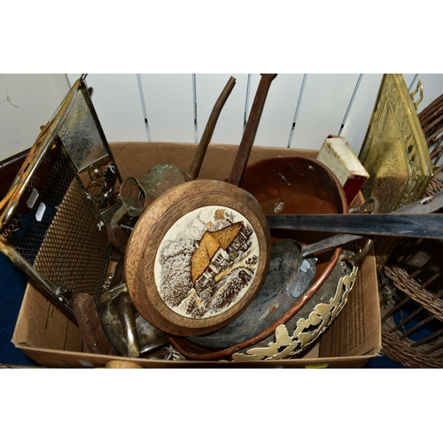 514 - THREE BOXES AND LOOSE SUNDRY ITEMS, to include an Eccles Miners safety lamp, brass jam pan, copper a...