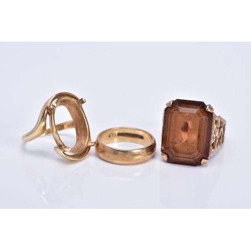 52 - THREE RINGS TO INCLUDE, a 9ct gold wedding ring measuring approximately 5mm in width, hallmarked 9ct...