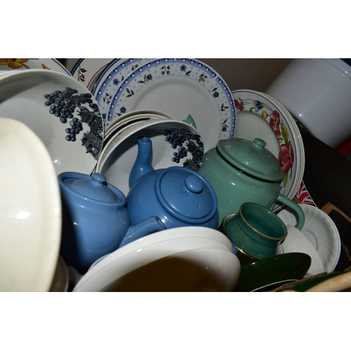 523 - FOUR BOXES AND LOOSE CERAMICS, GLASS AND SUNDRIES ETC, to include Wedgwood Peter Rabbit money box, M...
