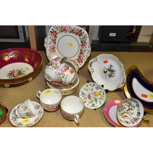 528 - A PARCEL OF TEAWARES ETC, to include Coalport pink rose and gilt teacups, saucers and side plates CO...