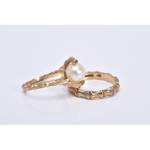 53 - A LATE 20TH CENTURY CULTURED PEARL SINGLE STONE RING, crossover design to a textured bamboo design s...