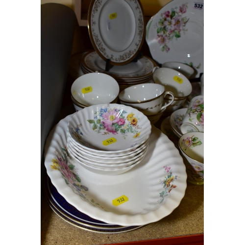 532 - A COLLECTION OF ROYAL DOULTON TEA AND DINNER WARES, including 'Apple Blossom' pattern, twenty piece ...