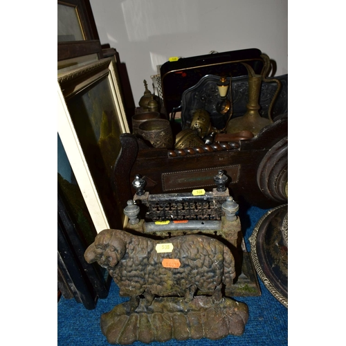 538 - A GROUP OF METALWARES AND PICTURES, including a pair of Victorian fire dogs, a cast iron sheep doors...
