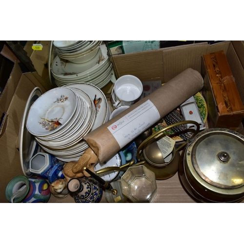 539 - SEVEN BOXES OF BOOKS, CERAMICS, METALWARES, A FLOOR STANDING LAMP AND A DAVID SHEPHERD PRINT, includ...
