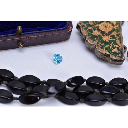 56 - A MISCELLANEOUS COLLECTION OF JEWELLERY, to include an Edwardian 9ct gold ruby and pearl brooch, a r...