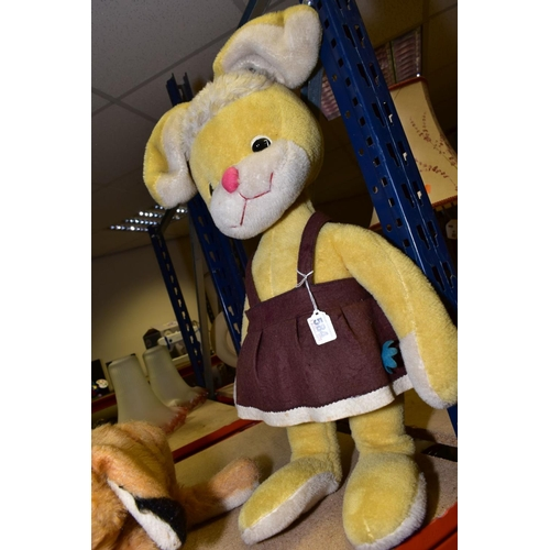 584 - TWO MERRYTHOUGHT RABBIT SOFT TOYS, one is large yellow and white in colour with brown pinafore dress...