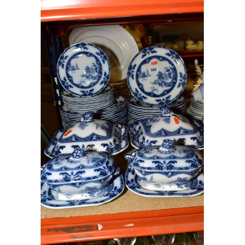 585 - A SPODE FLOW BLUE 'LANDSCAPE' PATTERN PART DINNER SERVICE, comprising eleven 26cm plates, twelve 23c...